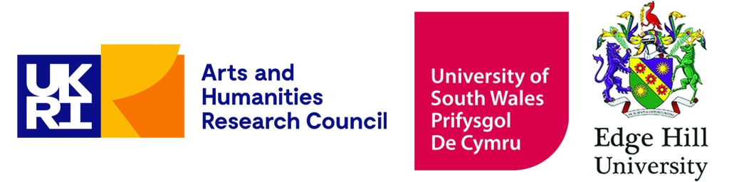 Logos for Arts and Humanities Research Council, University of South Wales and Edge Hill University